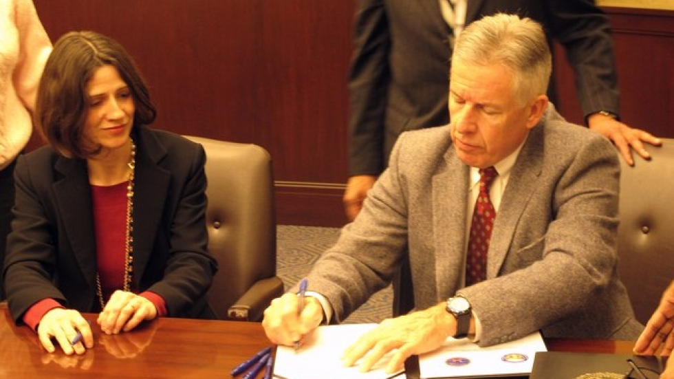 Kristin Sweeney, Cuyahoga County Juvenile Court Administrative Judge and Chief Prosecutor Tim McGinty (pic: Brian  Bull)