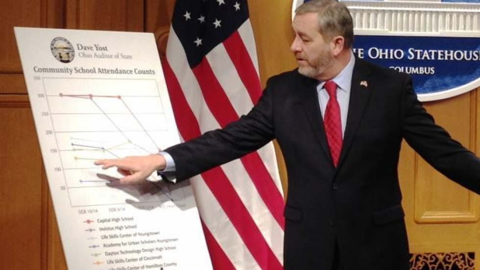 Ohio Auditor Dave Yost explains the findings of his office's probe into charter school attendance. (Andy Chow)