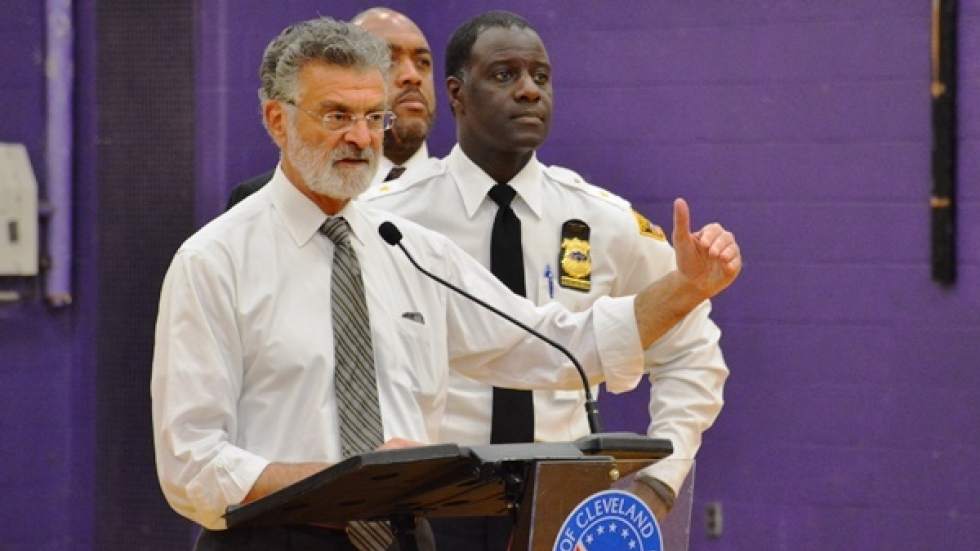 Cleveland Mayor Frank Jackson, flanked by Police Chief Calvin Williams, speaks after Tamir Rice's shooting. (file photo)