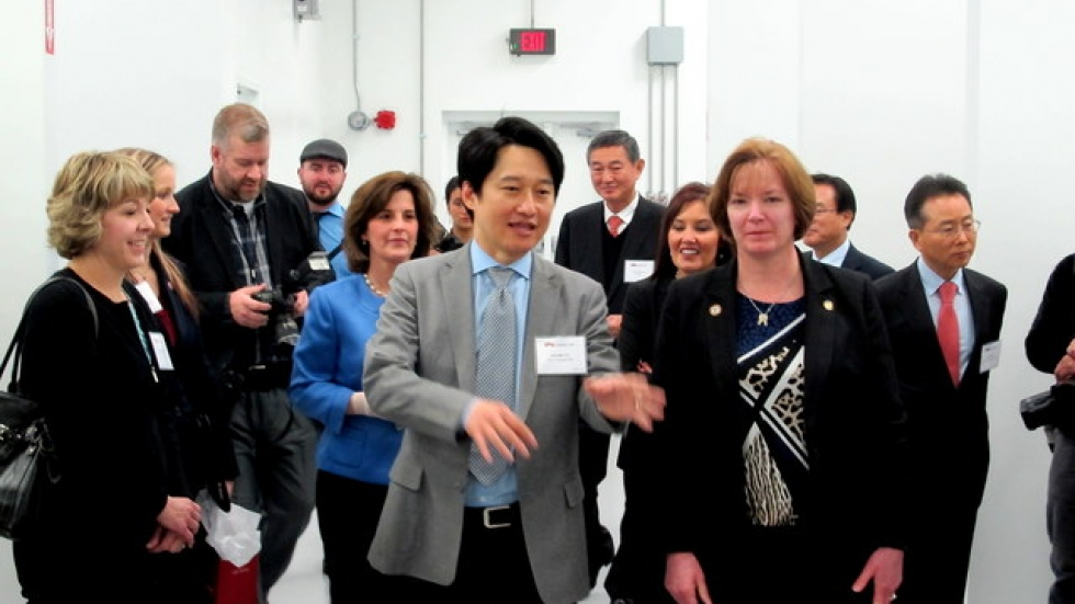 Sok-Min Yu, Cosmax USA President, leads a tour through the Solon facility (pic: Brian Bull)