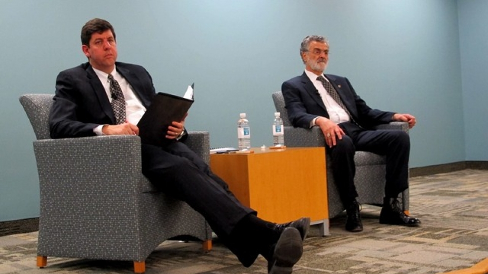 U.S. Attorney Steven Dettelbach (l) and Mayor Frank Jackson (r) (pic: Brian Bull)