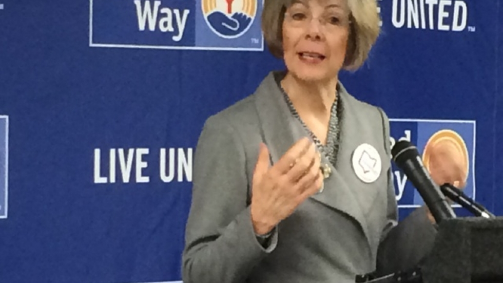 Regional U.S. Health and Human Services Director Kathleen Falk speaks at Greater Cleveland United Way Thursday,