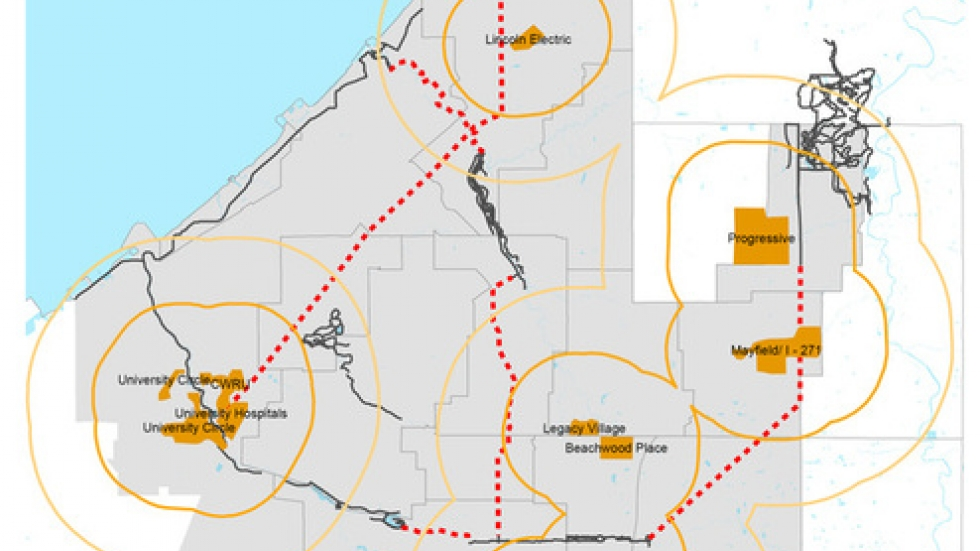 A map from the project's website shows one of its goals: green transportation routes to employment centers.