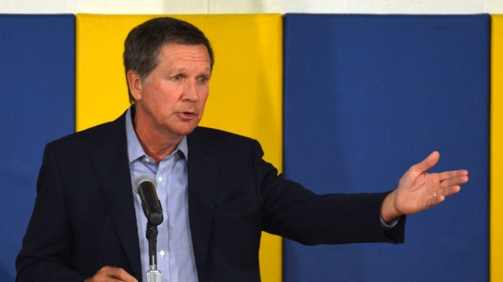 Gov. John Kasich speaks at a school in Cleveland in 2014. (Nick Castele / ideastream)