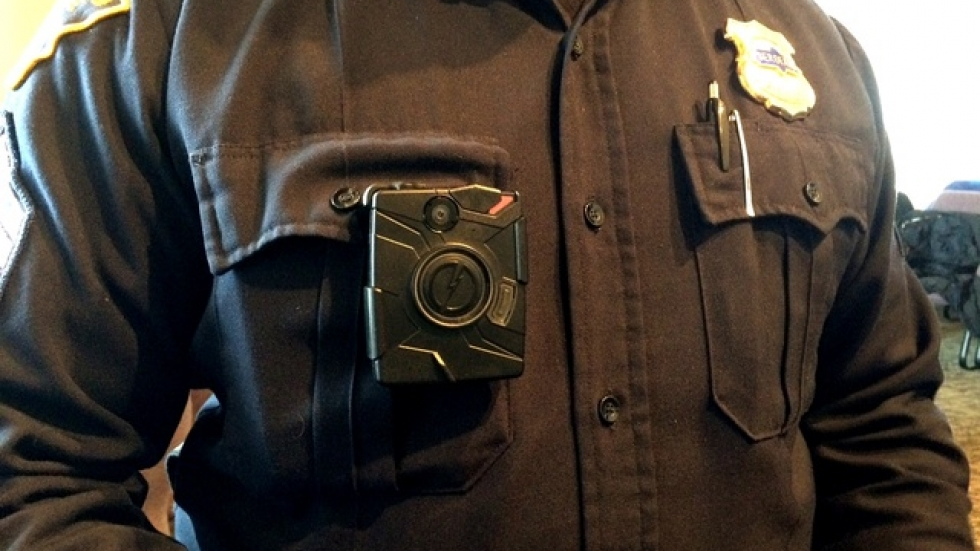 A CPD officer sports the body cam officers are expected to use in a number of situations (pic: Brian Bull)