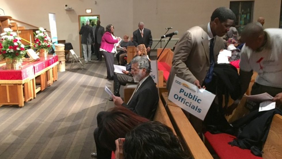 Mayor Jackson waiting for GCC police reform meeting to begin (photo by David Molpus/ideastream)