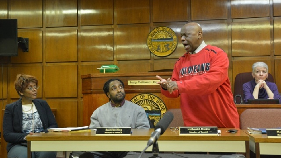 Councilman Nathaniel Martin delivers an impassioned speech during an East Cleveland council meeting. (Nick Castele)