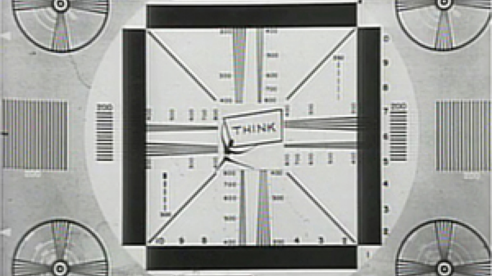 This test pattern, with the word 'Think', was the first thing that viewers saw when WVIZ went on the air