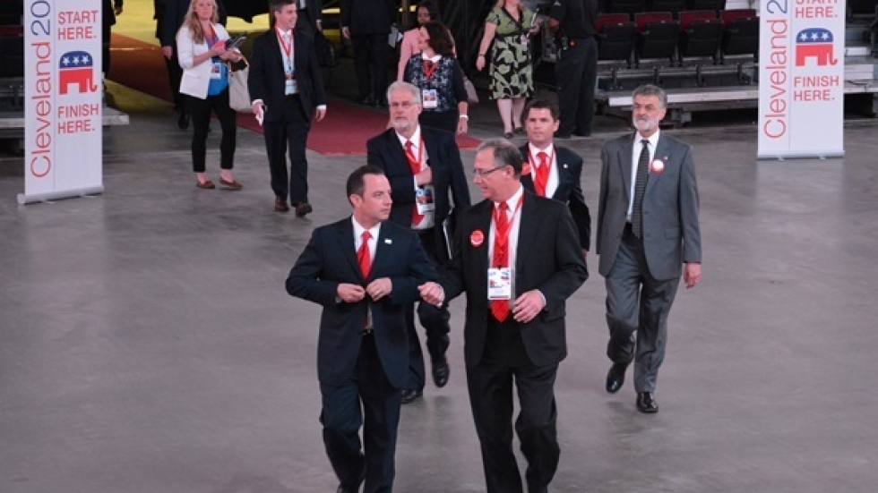 RNC Chair Reince Priebus and members of the Cleveland host committee enter the floor of the Q. (ideastream file photo)