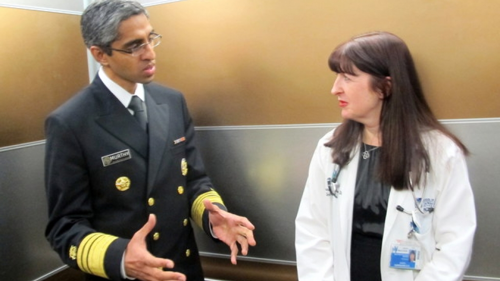 U.S. Surgeon General Murthy talks to MetroHealth's Jennifer Hanrahan (pic: Brian Bull)