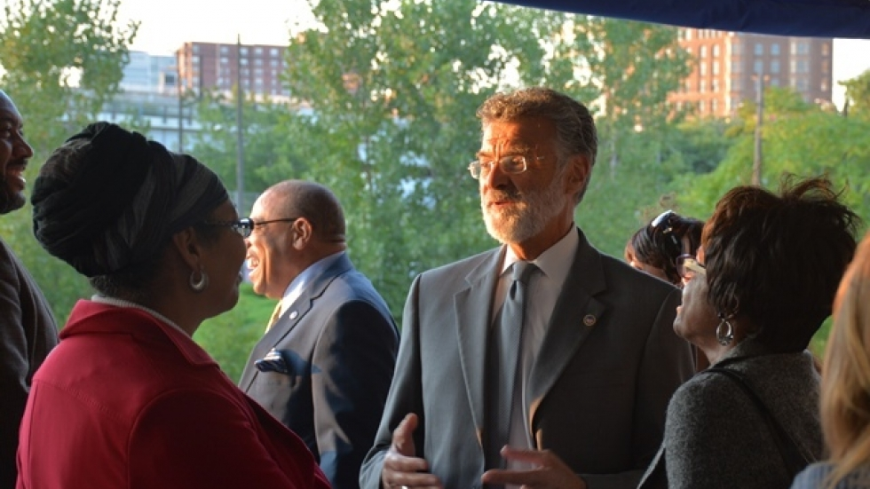 Cleveland Mayor Frank Jackson talks during a 2014 tour of the city's waterfront. (Nick Castele / ideastream)