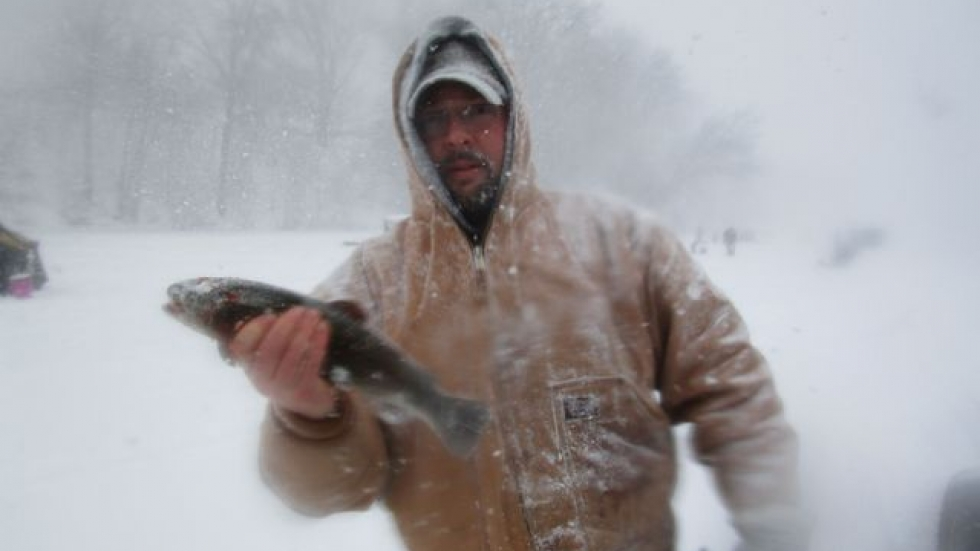 First place winner Jeremy Dotson with his trout (pic: Cleveland MetroParks)