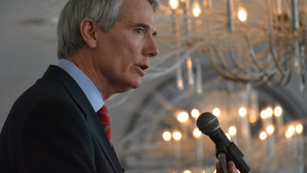 Sen. Rob Portman discusses foreign policy in a speech in Mayfield Heights. (Nick Castele / ideastream)