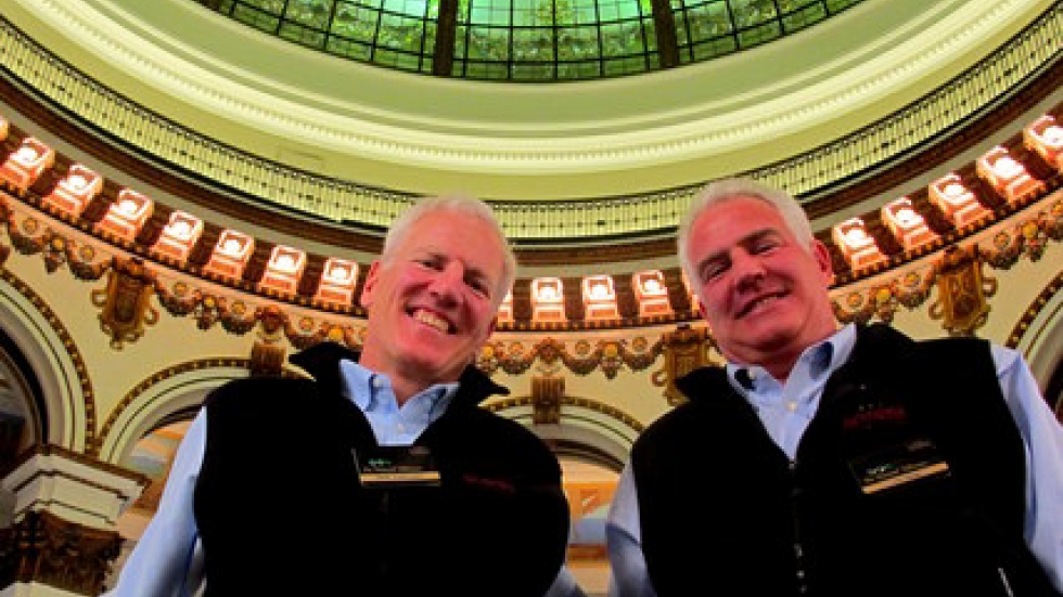 Jeff and Tom Heinen under the distinctive rotunda of their new store (pic: Brian Bull)