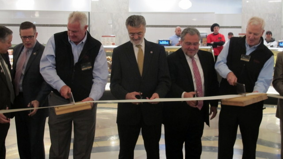 The Heinen brothers and local officials cut the ribbon at today's ceremony (pic: Brian Bull)