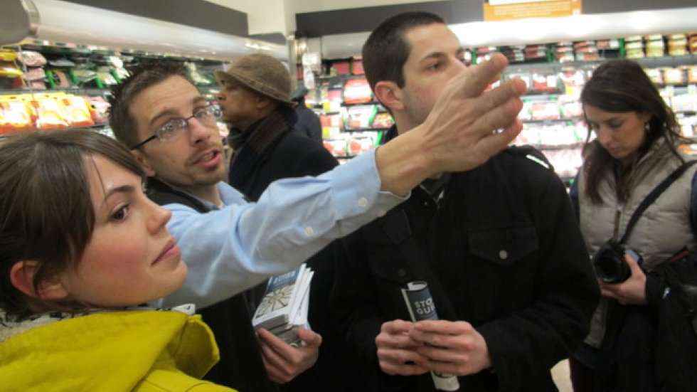 A Heinen's worker guides visitors to part of the store (pic: Brian Bull)