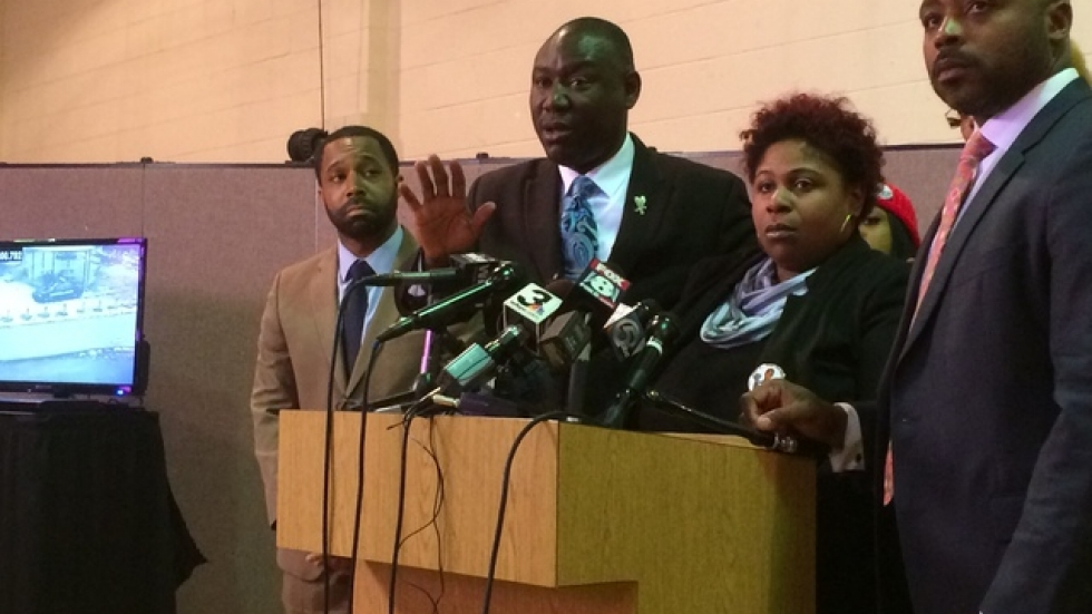Rice family attorney Benjamin Crump speaks with reporters. To his right is Tamir Rice's mother, Samaria Rice.