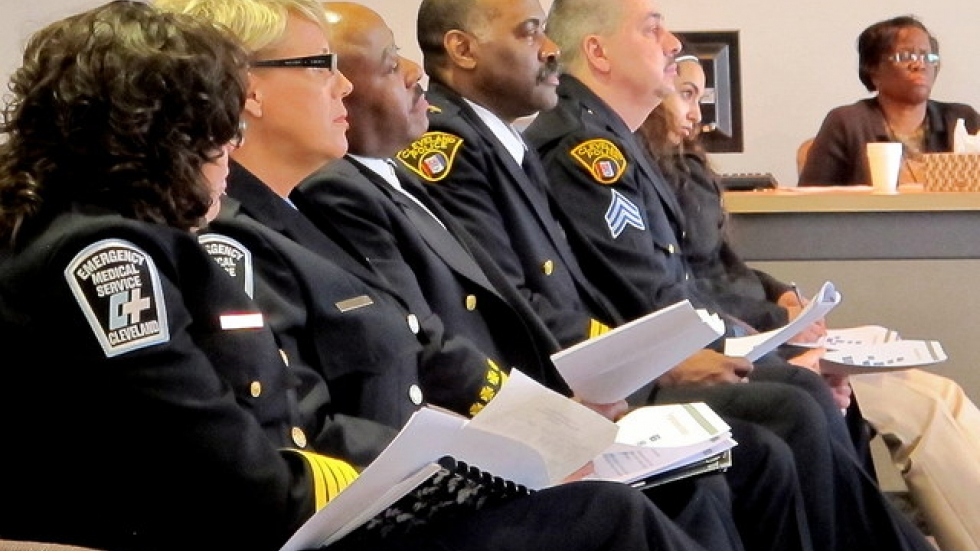 Officials with Cleveland's fire, EMS, and police departments at today's meeting (pic: Brian Bull)