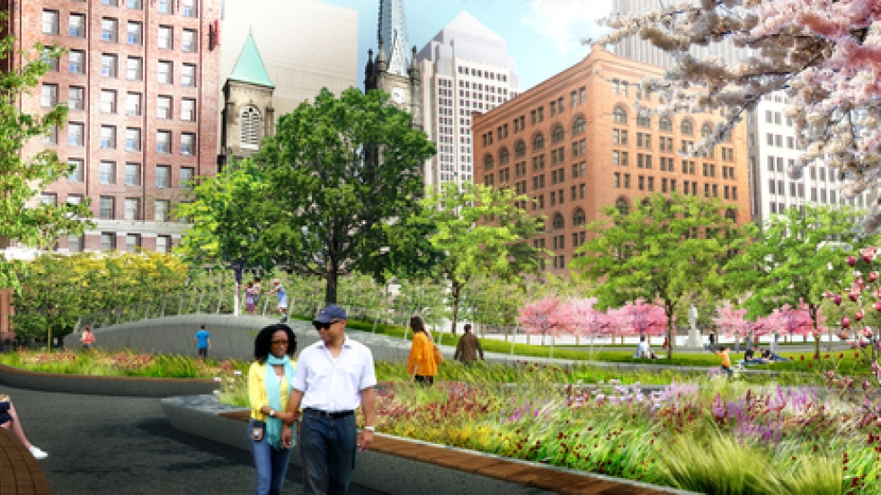 A rendering of what Public Square will look like, courtesy of James Corner Field Operations/The Group Plan Commission.