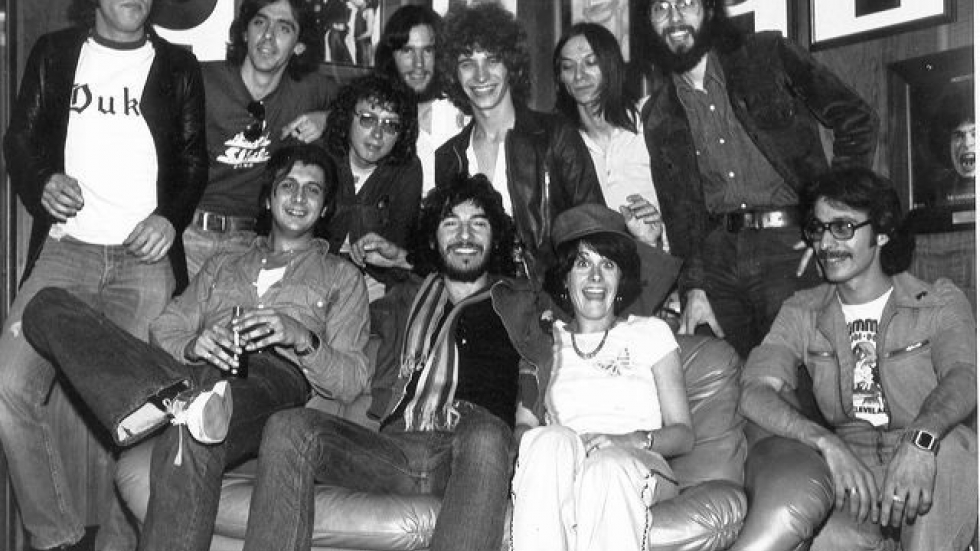 John Gorman (with the glasses, over Bruce Springsteen's shoulder) and the WMMS crew. (PHOTO: Dan Keefe)