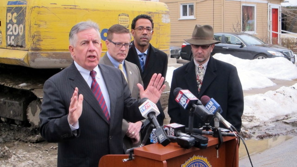 Cuyahoga County Prosecutor Tim McGinty, with city council members (pic: Brian Bull)