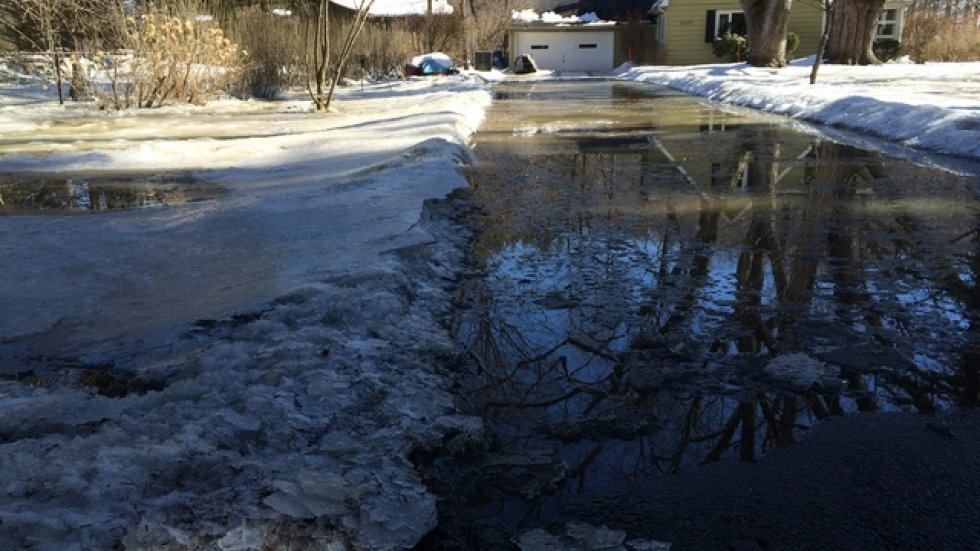 A flooded driveway in Willoughby Hills