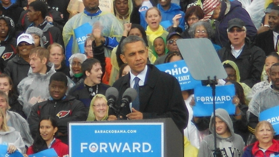 President Obama speaks at Cleveland State University during his 2012 reelection campaign. (Bill Rice / ideastream)