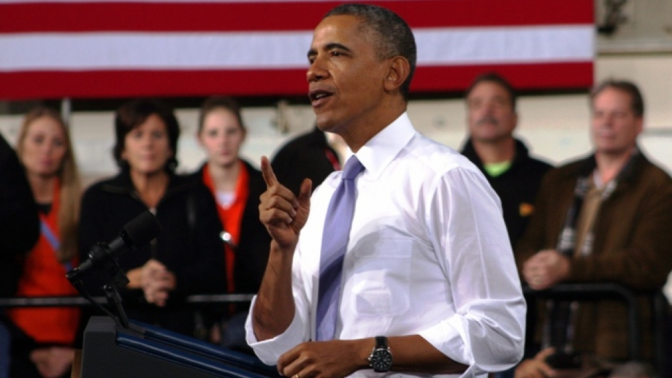 President Obama at 2013 visit to ArcelorMittal steel plant in Cleveland (photo: Brian Bull)