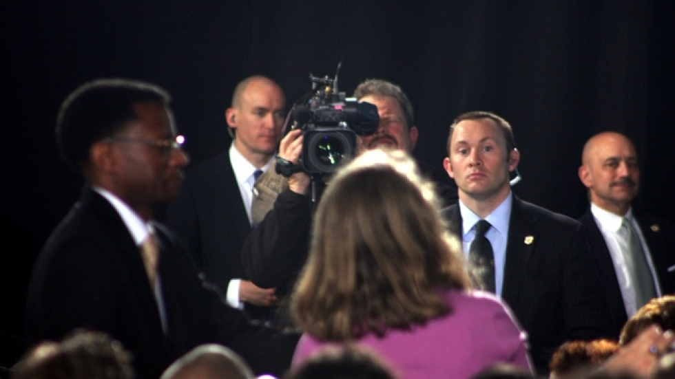Another audience member speaks, as a TV crew shoots the QnA session (photo by ideastream's Brian Bull)