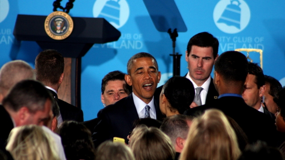 President Obama works the crowd after his speech and QnA session at the City Club (photo by ideastream's Brian Bull)