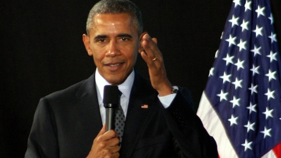 President Obama at today's City Club event (Photo by ideastream's Brian Bull)