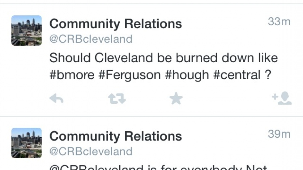 A screen shot shows the Community Relations Board's now-deleted Tweets asking if Cleveland should be burned down. Photo by Tony Ganzer