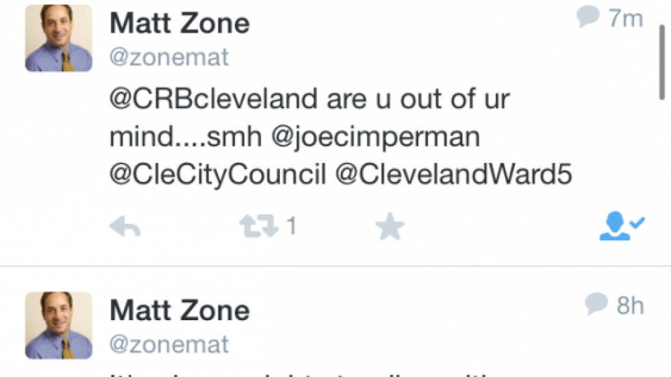 City Councilman Matt Zone responded to the Community Relations Board's Tweets. Photo by Tony Ganzer