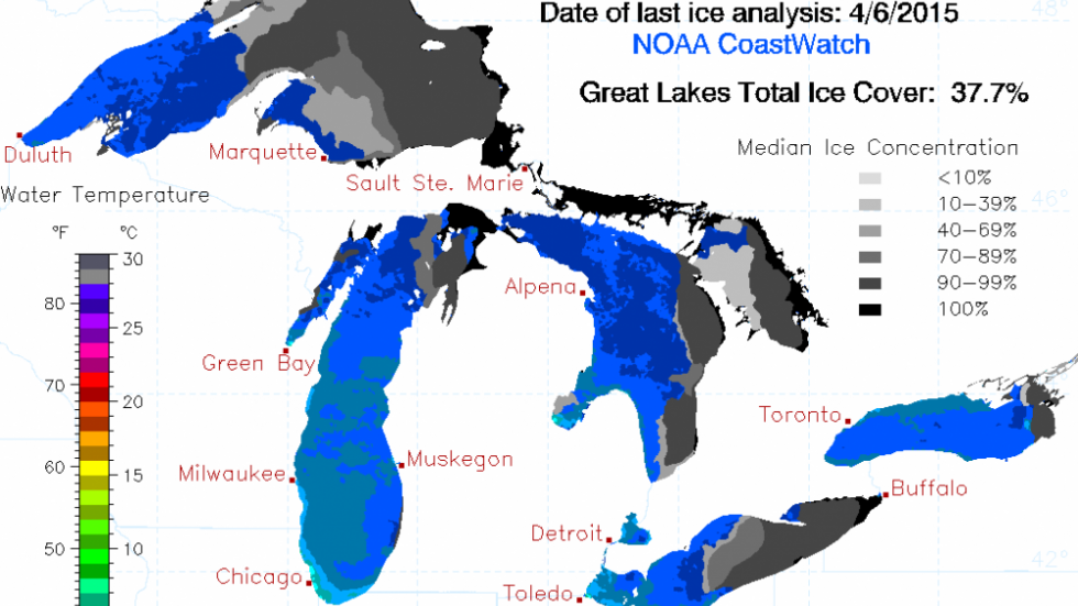 Great Lakes Ice Map from NOAA