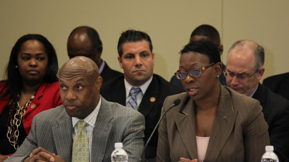 Community-Police Relations Task Force Co-Chair Nina Turner, and member, Ronnie Dunn. Photo by Andrew Samtoy