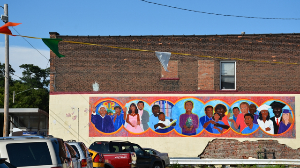 A mural on a building along Euclid Avenue, East Cleveland's main business district.