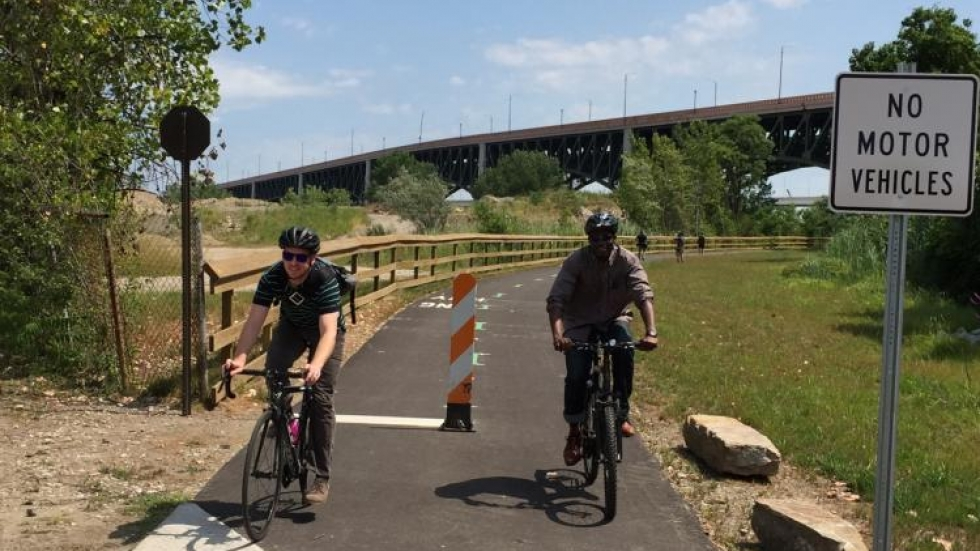 Cyclists on the new trail. Photo by Karly Kovac