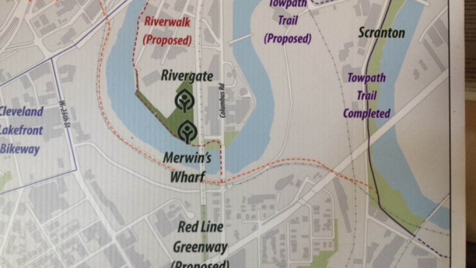 The dotted orange line represents the Centennial Trail. The section on the right between the south end of Scranton Peninsula and Merwin's Wharf has opened and was dedicated today. Courtesy Cleveland Metroparks