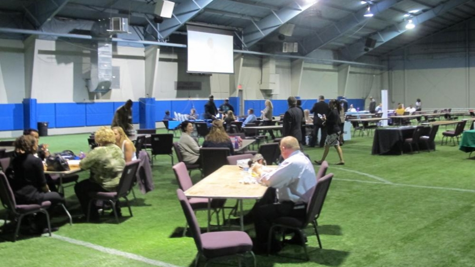 Attendees at today's summit visit with vendors and representatives (pic: Brian Bull)