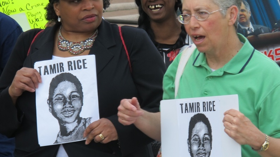 Activists at a Tamir Rice family press conference in June (pic: Brian Bull)