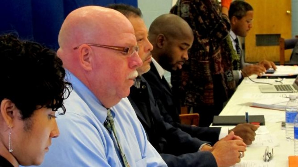 Members of the CCPC listen to local resident's questions about police reform (pic: Brian Bull)