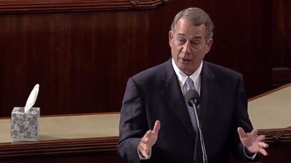 Boehner says his farewell, box of tissues at the ready (from YouTube video provided by Boehner's office)