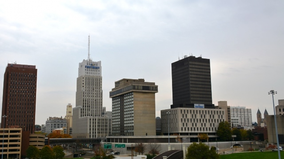 Downtown Akron's skyline as seen on a recent October day.