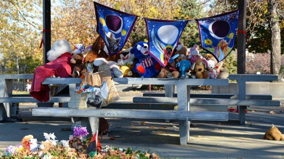 A memorial stands near the spot where Tamir Rice was fatally shot by a police officer.