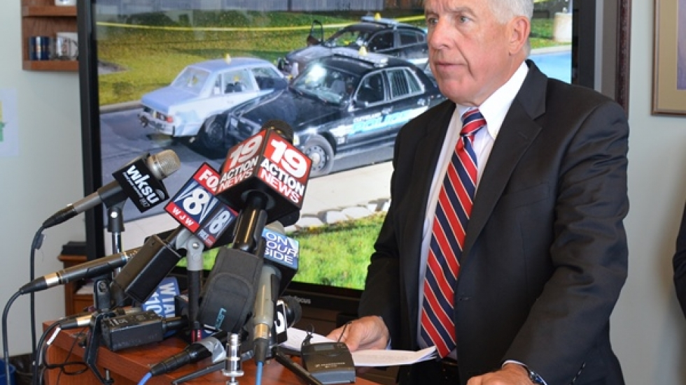Cuyahoga County Prosecutor Timothy McGinty announces the indictments of police officers in a news conference in 2014.