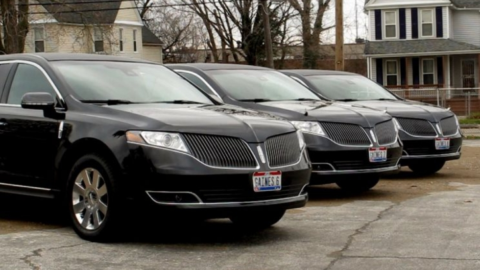 Gaines Funeral Home's fleet of limousines (pic: Brian Bull)
