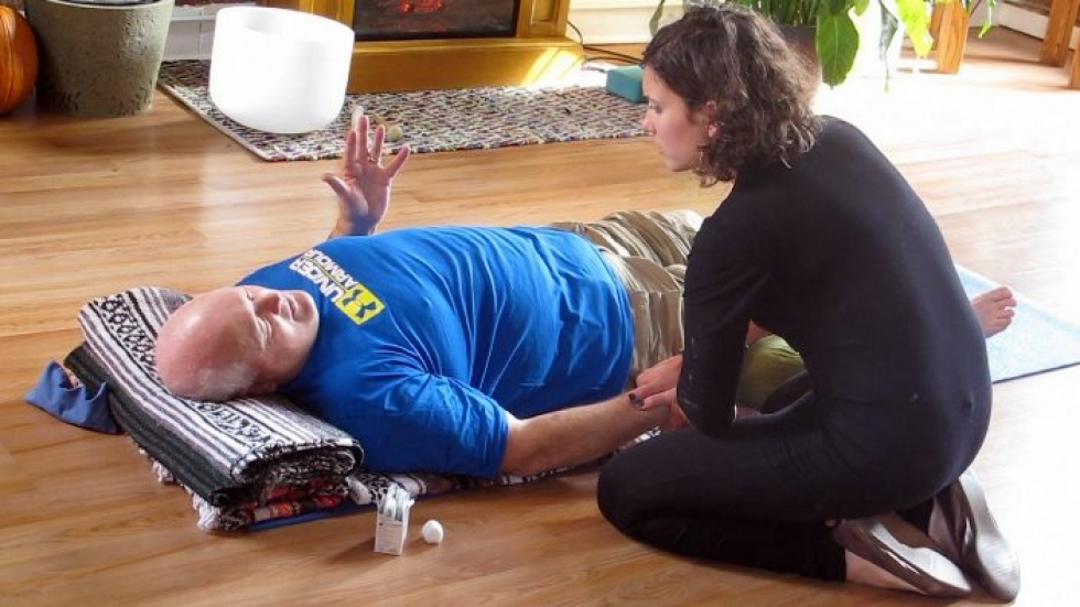 A man gets ready for acupuncture at Vision Yoga and Wellness (pic: Brian Bull)