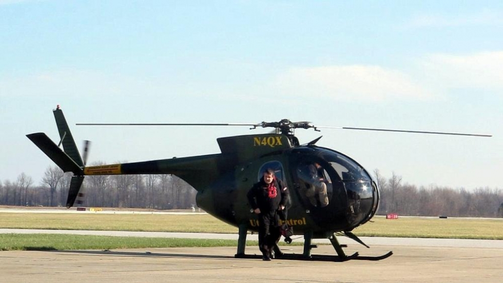 Chopper touches down for refueling at Lost Nation [photo: Brian Bull/ideastream]