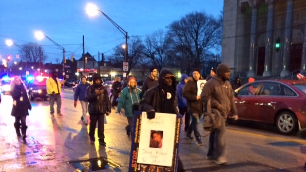 Protesters march in Cleveland after Tamir Rice decision.