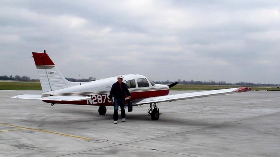 Single-engine plane on new ramp at Lorain County Regional Airport [photo: Brian Bull/ideastream]